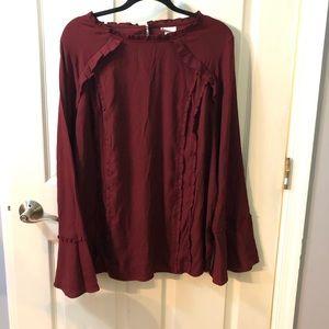Ava&Viv wine ruffles bell sleeved shirt 2X